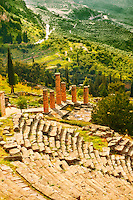 4th century BC theatre of Delphi & Temple of Apollo , archaeological site, Greece,