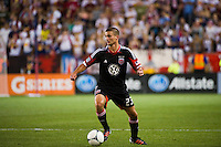 Perry Kitchen (23) of DC United. The New York Red Bulls defeated DC United 3-2 during a Major League Soccer (MLS) match at Red Bull Arena in Harrison, NJ, on June 24, 2012.