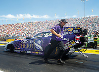 Sep 4, 2016; Clermont, IN, USA; Jimmy Prock , crew chief for NHRA funny car driver Jack Beckman during qualifying for the US Nationals at Lucas Oil Raceway. Mandatory Credit: Mark J. Rebilas-USA TODAY Sports