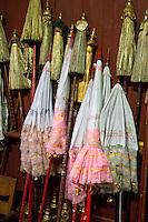 Myanmar, Burma.  Ceremonial Umbrellas, Alodaw Pauk Pagoda, Nampan Village, Inle Lake, Shan State.