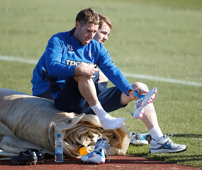 Kirk Broadfoot recovers after putting in a shift at training as he continues his comeback from injury