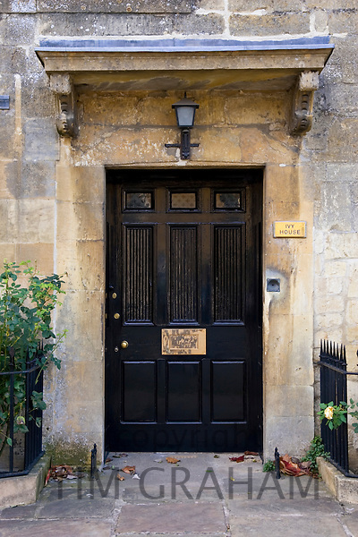 Front door of town house in Chipping Campden, Gloucestershire, United Kingdom