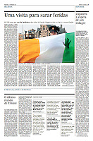 Tearsheet (Feature story) of &quot;Ireland: Uma visita para sarar feridas&quot; published in Expresso