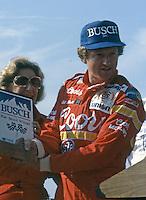 Bill Elliott busch pole award Pepsi Firecracker 400 at Daytona International Speedway in Daytona Beach, FL on July 4, 1985. (Photo by Brian Cleary/www.bcpix.com)