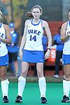 16 October 2015: Duke's Robin Blazing. The University of North Carolina Tar Heels hosted the Duke University Blue Devils at Francis E. Henry Stadium in Chapel Hill, North Carolina in a 2015 NCAA Division I Field Hockey match. UNC won the game 2-1.
