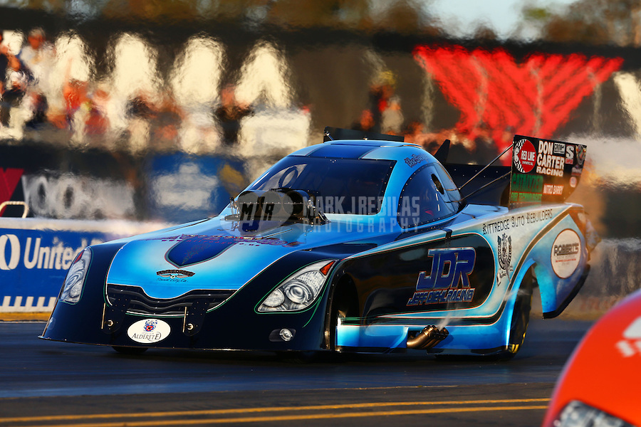 Jul. 26, 2013; Sonoma, CA, USA: NHRA funny car driver Jeff Diehl during qualifying for the Sonoma Nationals at Sonoma Raceway. Mandatory Credit: Mark J. Rebilas-