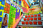 A colourful staircase leads to an upstairs electronics store in the Akihabara district of Tokyo.