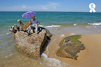 Man with umbrella sitting on rocks by ocean (Licence this image exclusively with Getty: http://www.gettyimages.com/detail/83154201 )