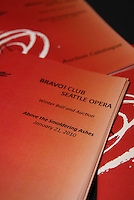 Setup for Seattle Opera's Bravo! Club Winter Ball at the Space Needle.