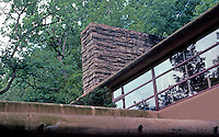 F.L. Wright: Fallingwater. Upper bedroom from balcony entrance.  Photo '76.