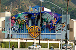 Mural depicting comic characters on a wall at Warner Brothers Studios in Burbank, California