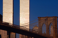 Brooklyn Bridge and Twin Towers, New York City, NY, Bridge designed by John Augustus Roebling, World Trade Center, Twin Towers, designed by Minoru Yamasaki, International Style II