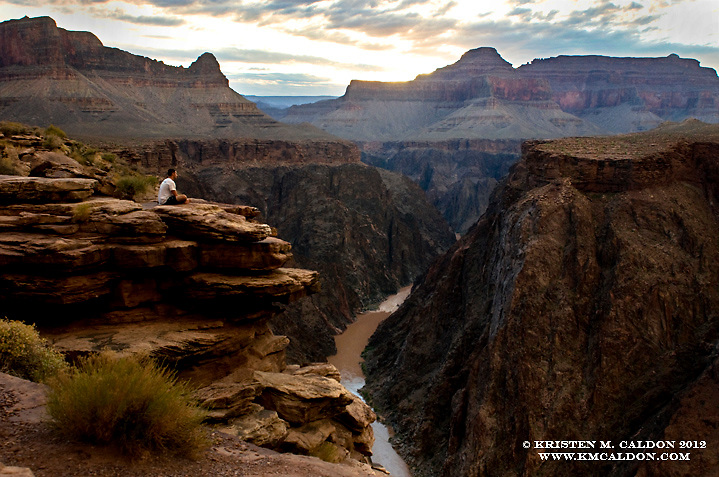 A hiker soaks in the magnificent sights from Plateau Point. This is quite a popular destination for corridor hikers, and for good reason, it is quite a special place.