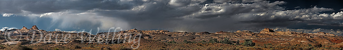 988000012 panoramic view of the  sandstone formations along the san rafael swell below storm clouds near goblin valley utah united states