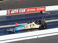 Nov 13, 2016; Pomona, CA, USA; NHRA top fuel driver Morgan Lucas during the Auto Club Finals at Auto Club Raceway at Pomona. Mandatory Credit: Mark J. Rebilas-USA TODAY Sports