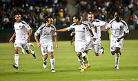 LA Galaxy players Sean Franklin (28), Landon Donovan (10), Juninho (19), Chris Birchall (11) and Edson Buddle (14) celebrate Juninho's goal during the second half of the game between LA Galaxy and the Seattle Sounders at the Home Depot Center in Carson, CA, on July 4, 2010. LA Galaxy 3, Seattle Sounders 1.
