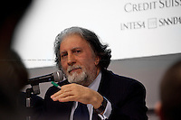 Roberto Scarpinato, Italian magistrate - 2012<br /> <br /> London, 06/02/2012. &quot;The Criminality of those in power and the Italian decline&quot;. Leoluca Orlando (former anti-mafia Mayor of Palermo and Italia dei Valori MP) and Roberto Scarpinato (Magistrate and General attorney of the Prosecutor of Caltanissetta, Sicily) held a meeting at LSE, in which they discussed the mafia as a powerful criminal system involved in both the economy and politics in Italy.