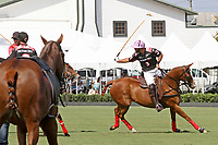 WELLINGTON, FL - MARCH 12:  Facundo Pieres of Orchard Hill takes a backshot on the ball as Orchard Hill defeats Audi 9-8, in the early rounds of the USPA Gold Cup at the International Polo Club, Palm Beach on March 12, 2017 in Wellington, Florida. (Photo by Liz Lamont/Eclipse Sportswire/Getty Images)