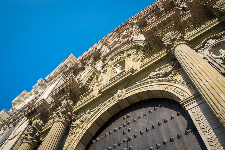 Facade view of the Lima Cathedral in the Lima Historic Centre in Peru