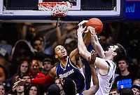 INDIANAPOLIS, IN - FEBRUARY 19: Andre Marhold #0 of the Duquesne Dukes and Andrew Smith #44 of the Butler Bulldogs battle for a rebound at Hinkle Fieldhouse on February 19, 2013 in Indianapolis, Indiana. (Photo by Michael Hickey/Getty Images) *** Local Caption *** Andre Marhold; Andrew Smith