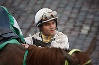 Jockey Fernando Jara in the winners circle at Gulfstream Park, Hallandale Beach Florida. 03-04-2012