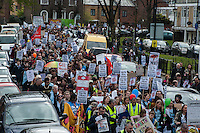 Lambeth Save the Libraries march through Herne Hill and Brixton. 9-4-16 The protest went from the occupied Carnegie Library to Brixton.