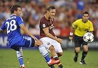 Francesco Totti (10) of AS Roma goes against Cesar Azpilicueta (28) of Chelsea FC.  Chelsea FC defeated AS Roma 2-1, during an international friendly , at RFK Stadium, Saturday August 10 , 2013.