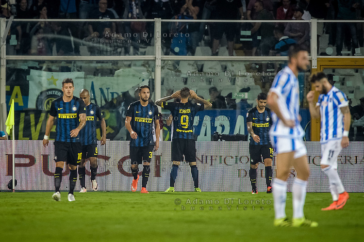 The second goal of Mauro Icardi  (inter) during the Italian Serie A football match Pescara vs SSC Inter on September 11, 2016, in Pescara, Italy. Photo by Adamo DI LORETO
