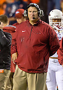 HAWGS ILLUSTRATED JASON IVESTER --08/30/2014--<br /> Arkansas head coach Bret Bielema watches from the sideline during a break in play on Saturday, Aug. 30, 2014, against Auburn at Jordan-Hare Stadium in Auburn, Ala.