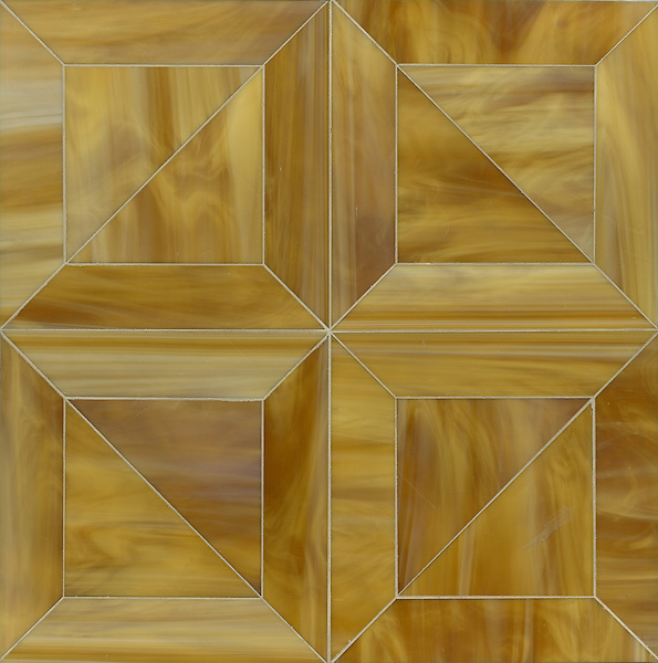 Truman, a Jewel Glass waterjet mosaic shown in Tiger's Eye, is part of the Parquet Line by Sara Baldwin for New Ravenna Mosaics. <br />