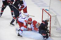 OLYMPICS: SOCHI: Bolshoy Ice Dome, 15-02-2014, Ice Hockey, Men's Prelim. Round Group A, United States-Russia, result: 3-2 after Shootout, Alexei Terechenko (#27 | RUS), Sergei Bobrovski (#72 | RUS), Cam Fowler (#3 | USA) scores 1-1, ©photo Martin de Jong