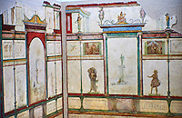 Roman fresco wall decorations of Bedroom E of the Villa Farnesia, Rome. Museo Nazionale Romano ( National Roman Museum), Rome, Italy.<br /> <br /> Bedroom E, a private room with a bed (kline), was divided into antechamber and alcove. The room is probably a later reworking, as the doorway is off-center. The decoration of the walls, in contrast to cubicula B and D, is done in muted colors. Slender columns with a surreal superstructure frame aedicula with sacred landscapes. Three of these show travellers making a sacrifice to a herm of Athena. The images refer in various ways to the world of women. The little pictures along the walls of the antechamber show girls engaged in different activities. On the rear wall of the alcove, which has a picture with an amorous theme, the goddess Artemis is shown dressed as both huntress and moon goddess. Two Muses are on the opposite wall. The stucco decorations of the vaulted ceiling show idyllic landscapes with sacred elements and mythological scenes. In one, Phaethon asks his father Apollo to let him drive the chariot of the Sun. Other scenes show statues of Zeus, a statue probably representing Augustus as the new Mercury, disks of the sun, winged victories and grotesque figures, all done in very low relief with the elegance and delicacy of jewellery. The mosaic pavement of this room, known from a contemporary watercolor, had a pattern of squares and stars.