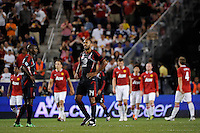 Thierry Henry (14) of the MLS All-Stars watches the replay of the Manchester United goal. Manchester United defeated the MLS All-Stars 4-0 during the MLS ALL-Star game at Red Bull Arena in Harrison, NJ, on July 27, 2011.