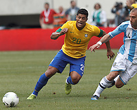 Brazil forward Hulk (20) passes the ball. In an international friendly (Clash of Titans), Argentina defeated Brazil, 4-3, at MetLife Stadium on June 9, 2012.