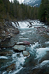 A waterfall on McDonald Creek in Glacier National Park in the winter