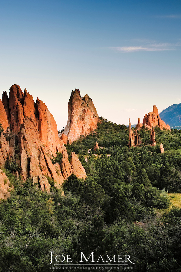 The Garden of the Gods in Colorado Springs, Colorado. The Garden of the Gods was originally a gift to the citizens of Colorado Springs by the family of local landowner Charles Elliott Perkins in 1909, who stipulated that access should remain forever free.