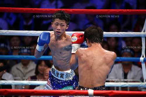 (L to R) Naoya Inoue, Ryoichi Taguchi, AUGUST 25, 2013 - Boxing : Naoya Inoue hits against Ryoichi Taguchi during the performed a match of the boxing 50kg weight division at Sky Arena Zama, in Kanagawa, Japan. (Photo by Jun Tsukida/AFLO SPORT)