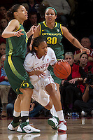 STANFORD, CA - February 26, 2011:  Melanie Murphy drives through a press  in Stanford's 99-60 victory over Oregon at Stanford, California on February 26, 2011.