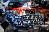 May 7, 2017; Commerce, GA, USA; Detailed view of valves for the cylinder head of the engine on the car of NHRA funny car driver Jonnie Lindberg during the Southern Nationals at Atlanta Dragway. Mandatory Credit: Mark J. Rebilas-USA TODAY Sports