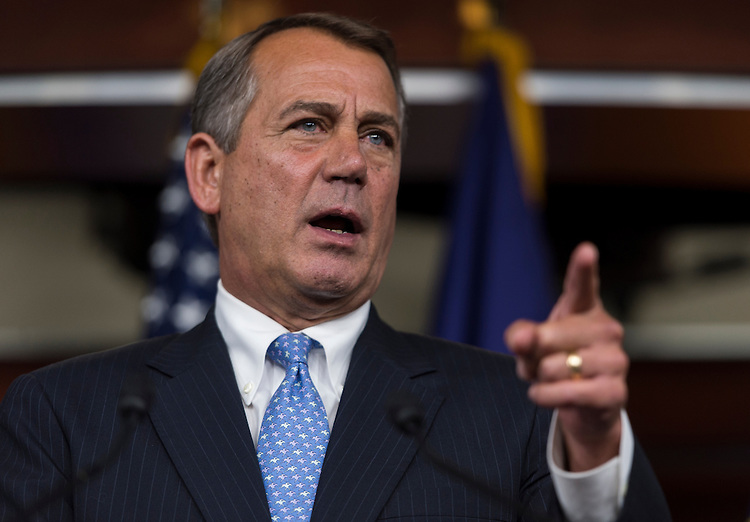 UNITED STATES - JUNE 21: Speaker of the House John Boehner, R-Ohio, holds his weekly news conference in the Capitol on Thursday, June 21, 2012. (Photo By Bill Clark/CQ Roll Call)
