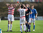 Hamilton Academical St Johnstone....04.04.15<br /> Referee Greg Aitken sends off Martin Canning after his foul on Michael O'Halloran<br /> Picture by Graeme Hart.<br /> Copyright Perthshire Picture Agency<br /> Tel: 01738 623350  Mobile: 07990 594431