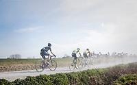 peloton racing over the newly added gravel roads around Ploegsteert, called 'Plugstreets'<br /> <br /> 79th Gent-Wevelgem 2017 (1.UWT)<br /> 1day race: Deinze &rsaquo; Wevelgem - BEL (249km)