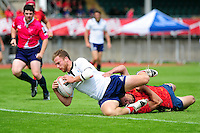 Matthew Ford of France dives for the try-line. FISU World University Championship Rugby Sevens Men's 3rd/4th place Play-Off between Spain and France on July 9, 2016 at the Swansea University International Sports Village in Swansea, Wales. Photo by: Patrick Khachfe / Onside Images