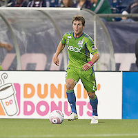 Seattle Sounders forward Mike Fucito (2) at midfield. In a Major League Soccer (MLS) match, the Seattle Sounders FC defeated the New England Revolution, 2-1, at Gillette Stadium on October 1, 2011.