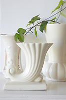 White Vases on white mantel