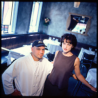 Iron Chef Michael Symon and wife Liz, in the mid-1990's at what was then Lola, now Lolita, in the Tremont neighborhood of Cleveland, Ohio.