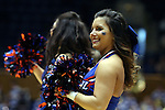24 March 2014: DePaul cheerleader. The Duke University Blue Devils played the DePaul University Blue Demons in an NCAA Division I Women's Basketball Tournament Second Round game at Cameron Indoor Stadium in Durham, North Carolina. DePaul won the game 74-65.