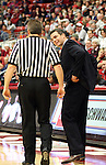 Tony Bennett, Washington State University Head Basketball Coach, discusses a questionable call with one of the referees during the Cougars Pac-10 conference game with Oregon State on February 14, 2009, in Pullman, Washington.  Despite a 12 point deficit at halftime, Oregon State came back to win the game 54-52.