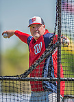 7 March 2013: Washington Nationals minor league Manager Matthew LeCroy tosses batting practice prior to a Spring Training game against the Houston Astros at Osceola County Stadium in Kissimmee, Florida. The Astros defeated the Nationals 4-2 in Grapefruit League play. Mandatory Credit: Ed Wolfstein Photo *** RAW (NEF) Image File Available ***