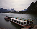 BB01703-03...CHINA - Dock on the banks of the Li River at Caoping Village.